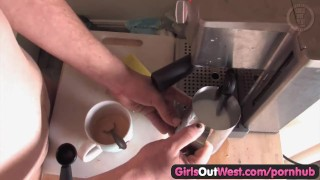 Girls Out West – Hairy Australian plumper drilled in the kitchen