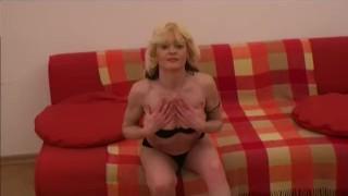 Small-tit Mature masturbates on couch