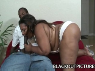 Amber swallows - fat bbw black babe penetrated by long black pecker