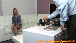 Preview 2 of FakeAgent First time creampie for hot blonde
