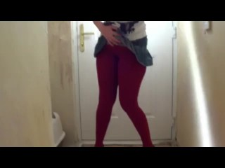 Sookie desperate for a pee wets herself through tights by front door