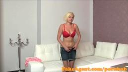 FakeAgent Petite blonde gets spunk shower in casting