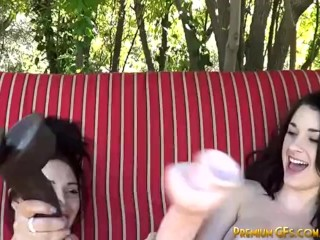 Two Huge Dildos For These Two Horny Lesbian Chicks