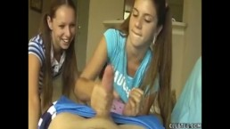 Naughty Teens Double Team A Prick