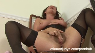 - Aunt Judys Classy Cougar Marlyn Strips And Pleasures Her Hairy Pussy