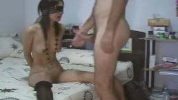 Blindfolded Asian babe gives great blowjob