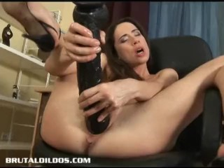European slut stretching her pussy with a brutal dildo