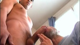 A handsome hink guy get sucked his huge cock by our assistant.