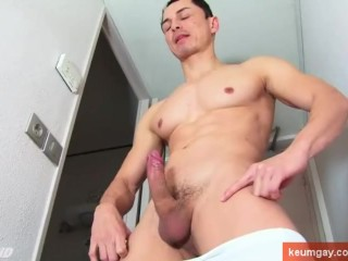 A spanish hunk guy get wanked his huge cock by us!