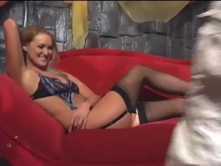 Sexy blonde with nice tits fucking in black thigh high stockings and heels