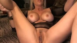 Hot Busty MILF Playing her Shaved Pussy