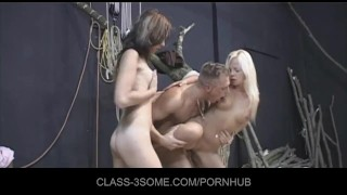 Carpenter's cock screws two horny babes