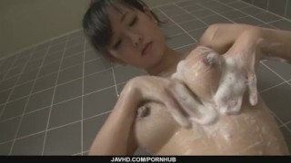 Hot milf Manami Komukai gobbles cock in the shower mother japanese milf asian oriental mom masturbate masturbating
