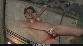 Filthy babe in tight red bikini sucking random poles and dildo fucked mother japanese milf asian oriental mom group
