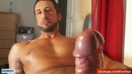 Andrea, hunk guy get wanked his huge cock by us!