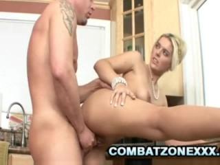 Kodi Gamble Blonde Milf Kitchen Sex With A Bald Man