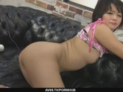 Nasty Asian bimbo with hairy snatch pussy fondled and filled with sex toy