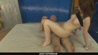 Petite Sayaka Tsuzi gets her hairy pussy toyed  riding dp big-tits dildo asian oriental mom sex-toys busty milf japanese cowgirl double-penetration mother threesome av69