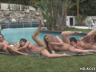 Outdoor pussy munching lesbian orgy