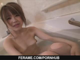 Azusa Miyakawa giving a nice blow job and getting off
