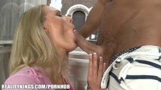 Reality Kings Euro blond gets super wet before taking two cocks