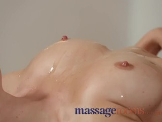 Massage Rooms Busty amateur gets her pussy stretched in lesbian encounter