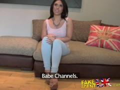 FakeAgentUK Pretty girl takes a massive facial on casting couch