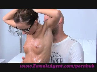 Preview 3 of FemaleAgent. Agent gets all oiled up by massuse stud