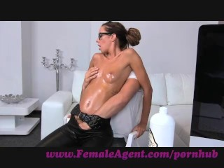 Preview 4 of FemaleAgent. Agent gets all oiled up by massuse stud