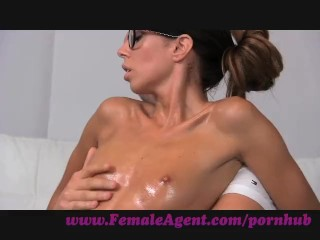 Preview 5 of FemaleAgent. Agent gets all oiled up by massuse stud