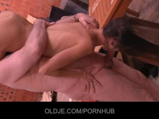 Old debt collector paid with oldyoung fuck