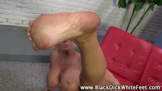 Sexy Alura Johnson gets fetish interracial cumshot giving footjob