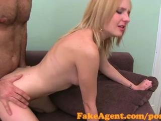 FakeAgent Nervous blonde takes anal creampie