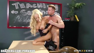 Big tit blonde teacher gets taught a lesson in fucking porno