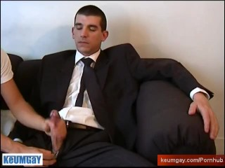 A real straight guy in suite trouser serviced: get wanked his huge cock!