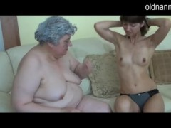 : Old busty granny playing with skinny girl