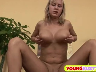 Amazing blonde with massive juggs
