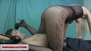 Macy Cartel Kinky Femdom Comp FACE SITTING PANTYHOSE FISHNETS EDGING POV  ass worship point of view humiliation facesitting booty femdom blonde smother kinky butt fishnets natural tits ass licking tights sneakers sweetfemdom.com hooters foot worship