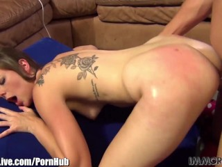 Slutty college girl has a tattoo between her pussy and her ass!