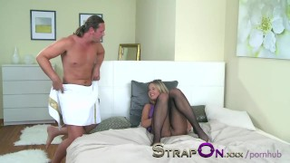 StrapOn Anal creampie for passionate girl after her wet holes are filled sex-toy strap-on-guy strap-on creampie small-tits ass-fuck cream-pie cum strapon adult-toys czech ass-fucking