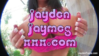 Jayden strips off a sexy pink two piece bathing suit and masturbates  big tits self pleasuring teasing masturbating sexy solo masturbate self touching busty sensual brunette orgasm big boobs erotic bubble butt jaydenfucks sex toy caressing pussy play