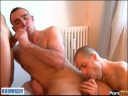 My assistant get sucked by 2 very hansome athletics huge cock guys!