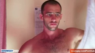 A sexy french guy get filmed on wank under our shower...