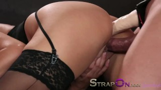 Strapon Babe in black stocking and suspenders gets DP from strapon cock  sensual oral sex blonde blowjob dp strapon double penetration small tits sex toy ass fuck ass fucking adult toys czech