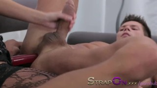Strapon Ripped euro guy gets ass fucked by his sexy girlfriend sex-toy oral-sex cumshot pegging sensual ass-fuck european strapon adult toys ass-fucking