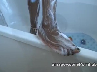 Black girl showers before sucking cock