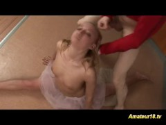 Flexible gymnast gets hard fucked sex in odd positions