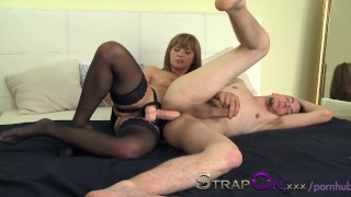 StrapOn She takes pleasure in pegging her man  ass-fuck anal sex ass-fucking anal european pegging guy pegging strapon peging his ass
