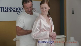 Massage Rooms Deep and intense fuck makes freckled redhead squirt Stockings kink
