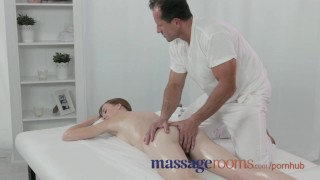 Massage Rooms Deep and intense fuck makes freckled redhead squirt Brother small